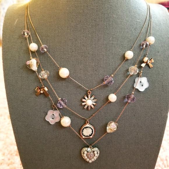 Betsey Johnson Jewelry - RARE Betsey Johnson Tiered Illusion Necklace